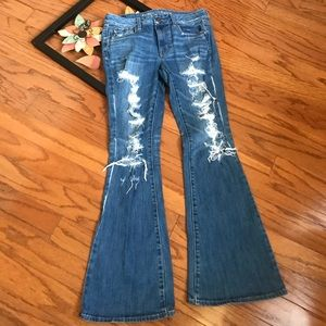 American Eagle Outfitters, distressed flare jeans